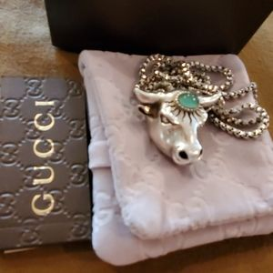 GUCCI Anger Forest Bull's Head Necklace SS .925
